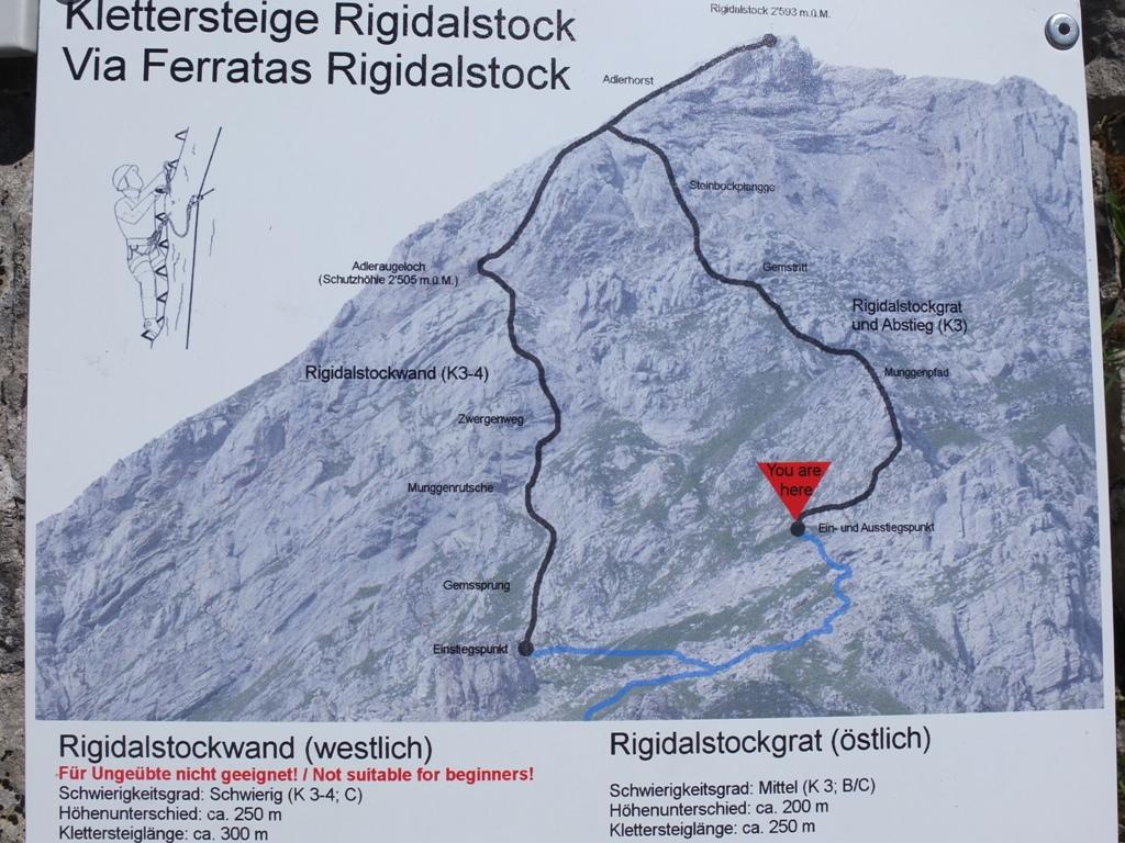 Klettersteig Karte : Rigidalstock m «klettersteig